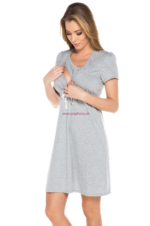 9b401d40f740 Bavlnená tehotenská nočná košeľa Alena sivá