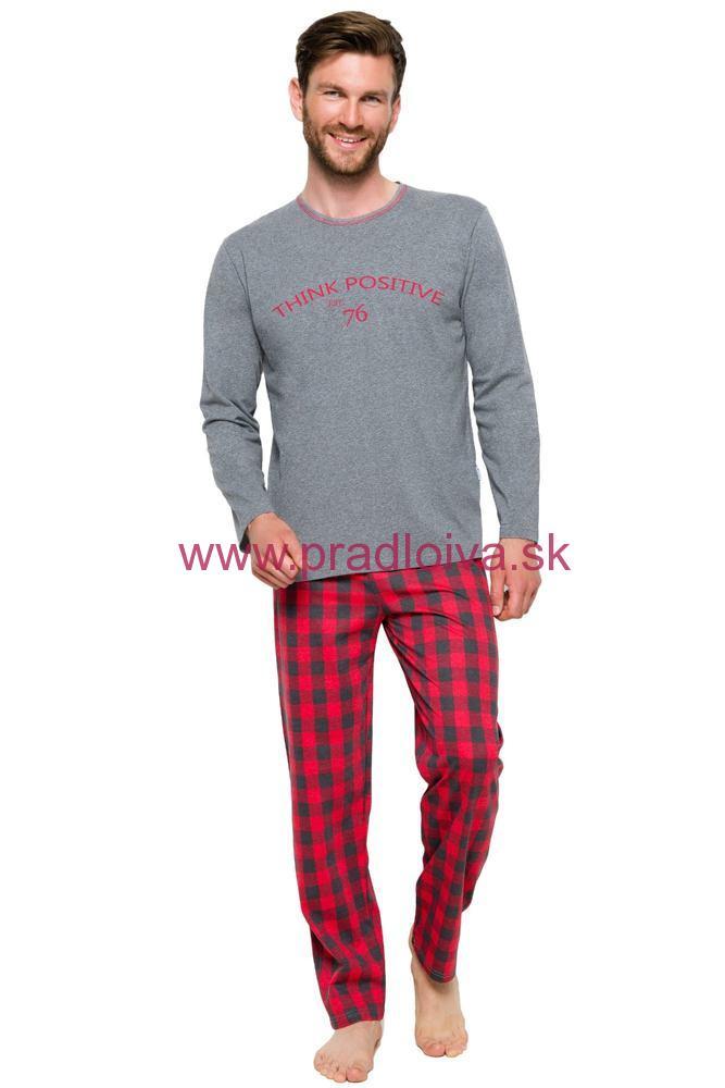 47670026711c Pánske dlhé pyžamo Leo šedo červené nohavice káro