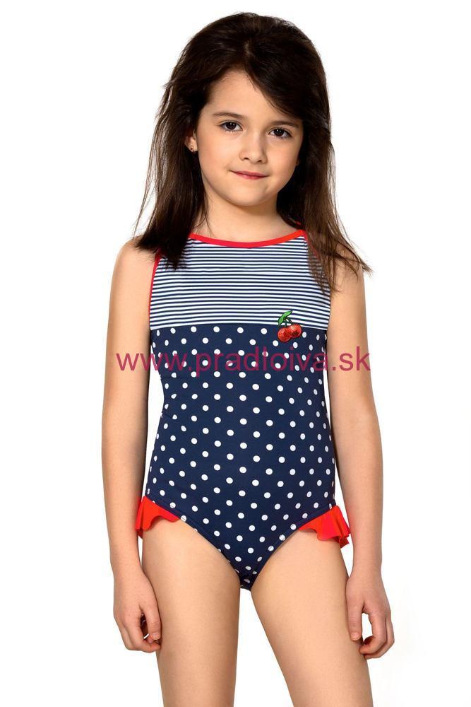 04bed87a9 Dievčenské jednodielne plavky biele bodky a prúžky Sárinka modré