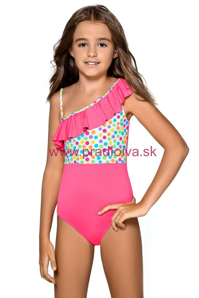 0da0b590e09f Dievčenské jednodielne plavky s volánikom a bodkami Anetka ružové