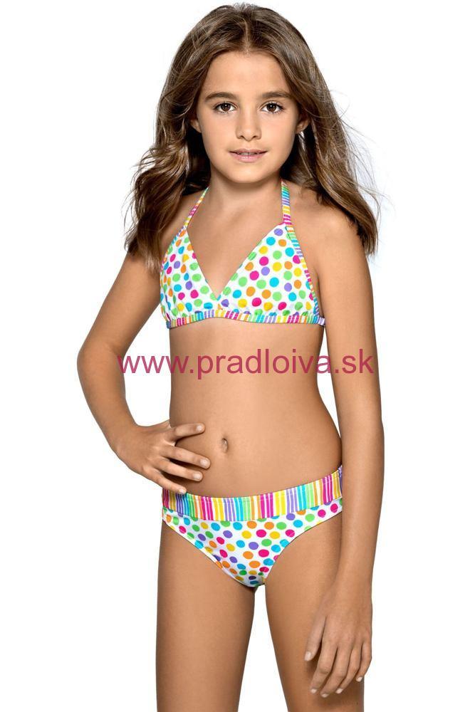 Dievčenské detské dvojdielne plavky Viky pestrofarebné s bodkami 97cb532f9d