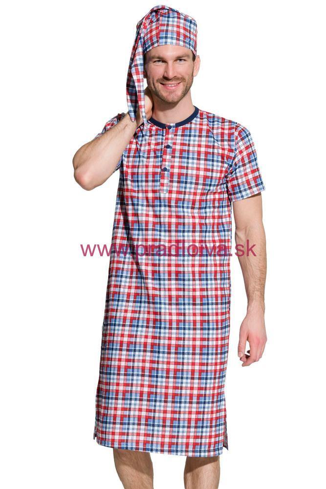 88c6fbe84185 Pánska bavlnená nočná košeľa Filip vzor káro modro-červená