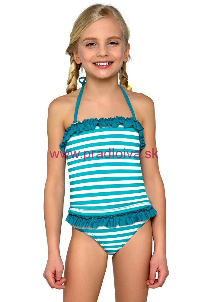 Dievčenské detské dvojdielne plavky tankiny Natálka modré prúžky 5ec5f07d56