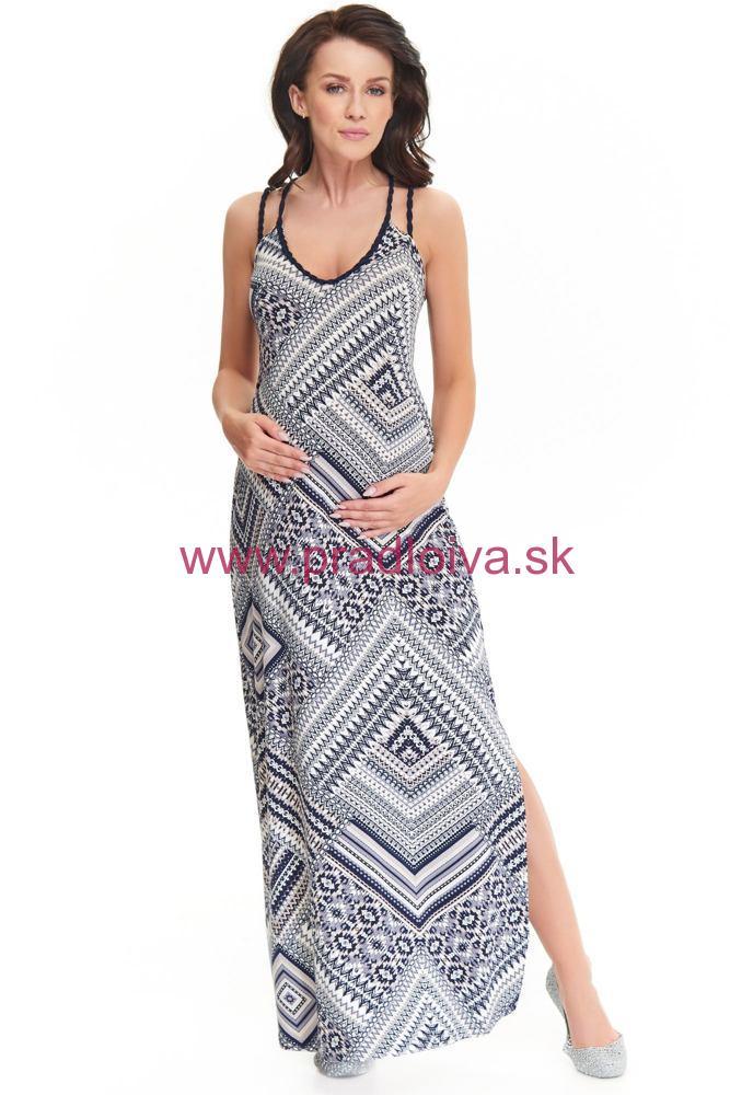 ee1eff1e5e Maxi dlhé šaty Marion dlhé ECRU modré vhodné aj pre tehotné