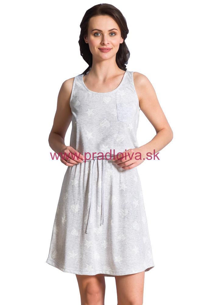 3e27b6a144c0 Dámska nočná košeľa Mady sivá s biele hviezdičky a srdiečka