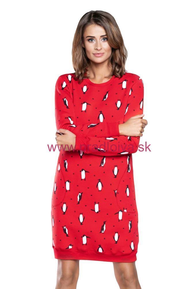 9f03a421ef63 Dámska bavlnená Vianočná nočná košeľa Lulu červená tučniak