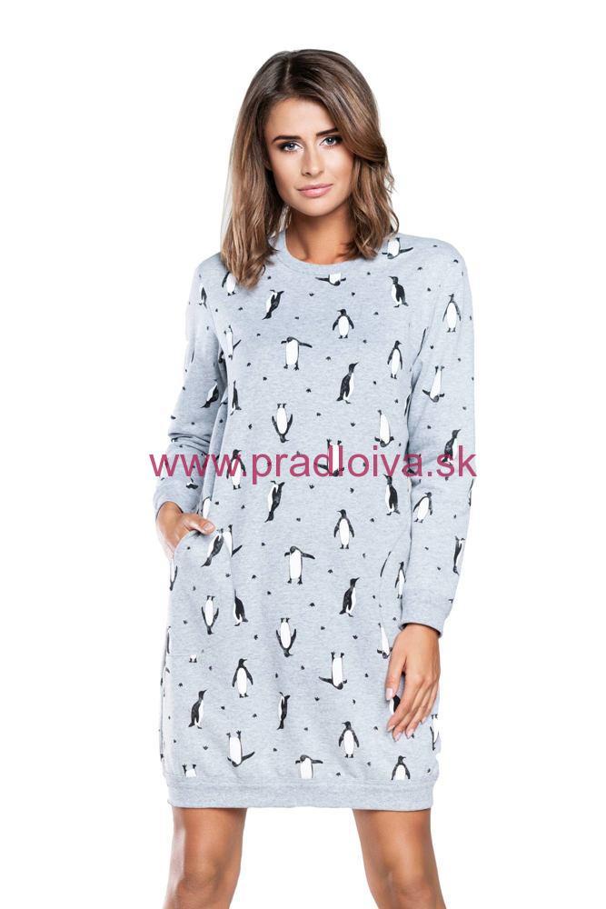 a4b6c9824adb Dámska bavlnená Vianočná nočná košeľa Lulu šedá tučniak