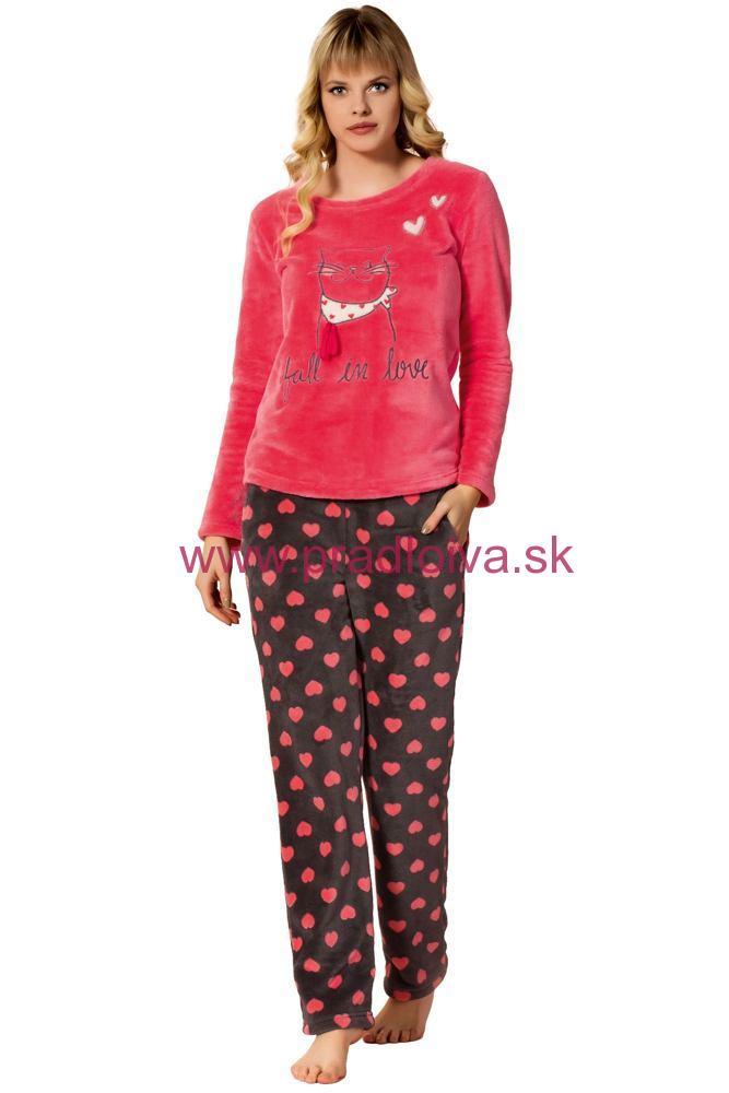 77a5287d140f Dámske teplé dlhé soft pyžamo Kitten srdiečka malinové M