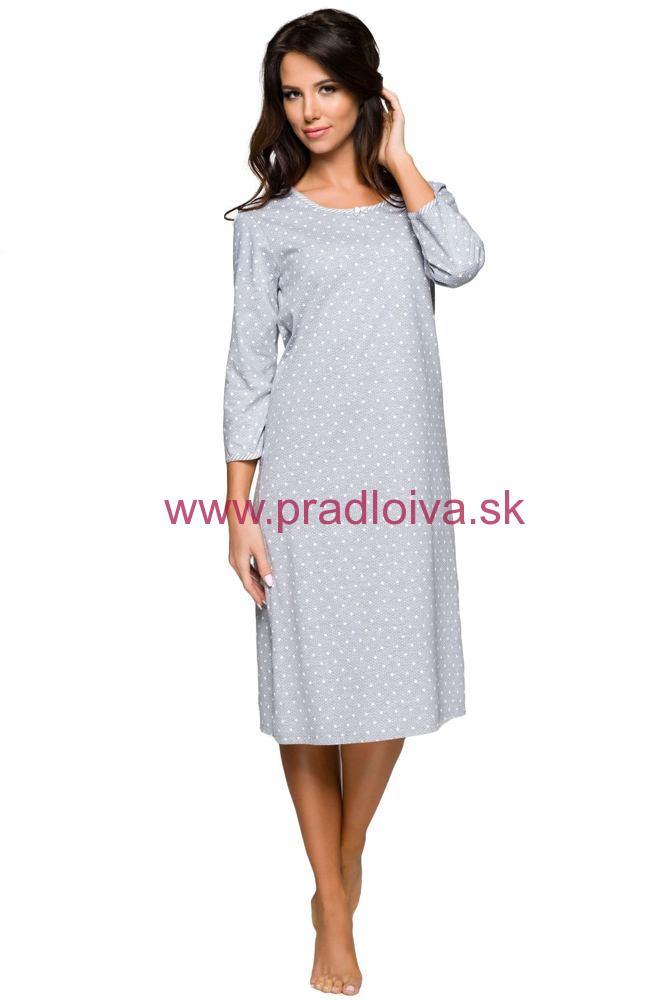 9e7842f1b Nočná bavlnená dámska košeľa Ilona sivá s hviezdičkami