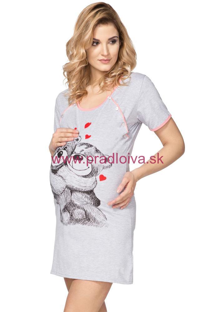 ef4253dd5230 Bavlnená materská nočná košieľka na kojenie Teddy Bear sivá