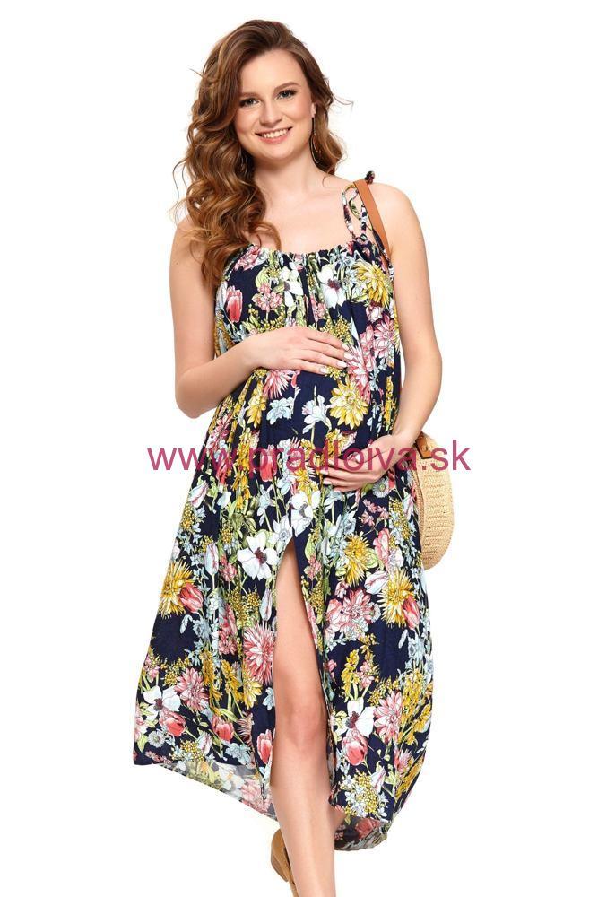 d786224b2 Dámske letné tehotenské šaty viskóza Leona kvetinové