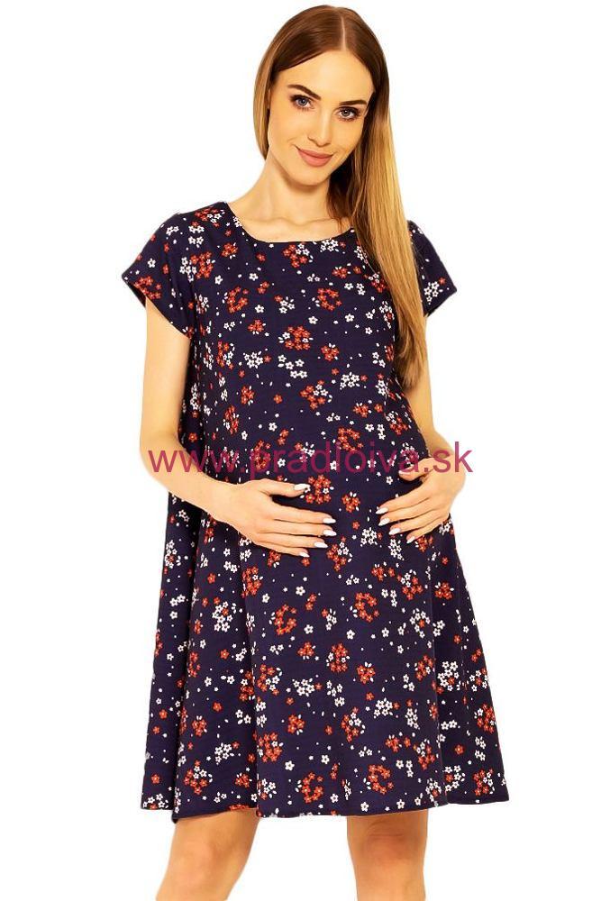 5a0aaaa37 Dámske tehotenské šaty kvetinový vzor Penny modré