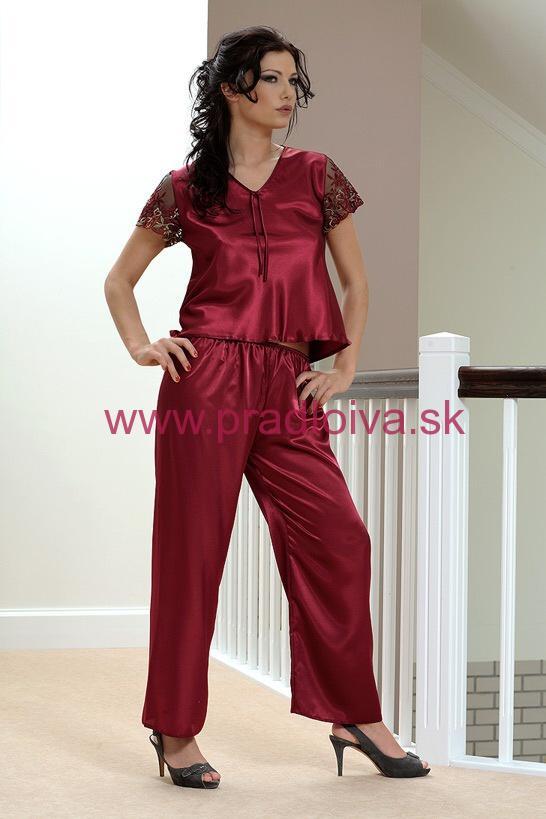 f176115038dc Dámske saténové pyžamo Ewa vínové