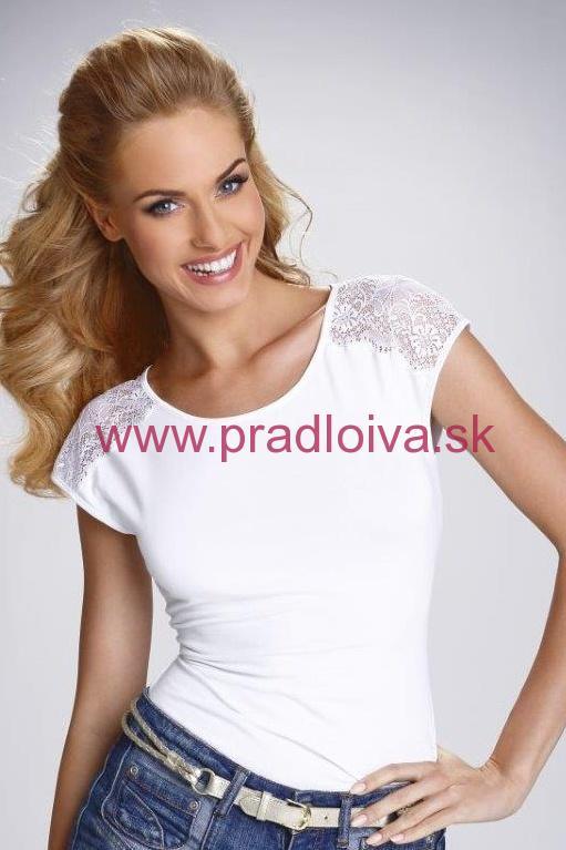 7ceaf3e65371 Dámske bavlnené tričko Tosca biele s čipkou