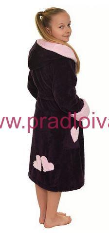 df75b968e600 Dievčenský detský teplý župan Lili s kapucňou vínový 152