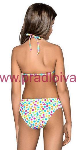 48081c16abf7 Dievčenské detské dvojdielne plavky Viky pestrofarebné s bodkami