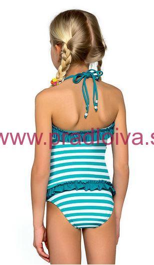 9057d28003f0 Dievčenské detské dvojdielne plavky tankiny Natálka modré prúžky