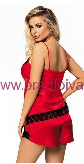 0edf09816 Dámske saténové krátke pyžamo s čipkou Mandy červeno čierne S