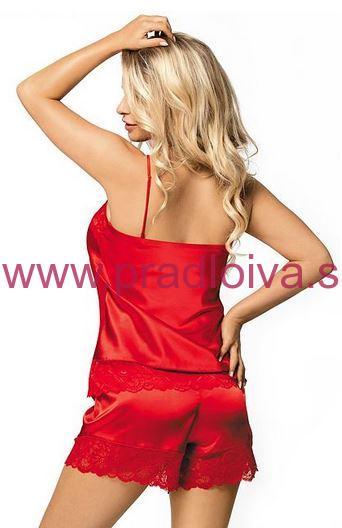 Dámske krátke saténové pyžamo s čipkou Brenda červené a54bde3fe0