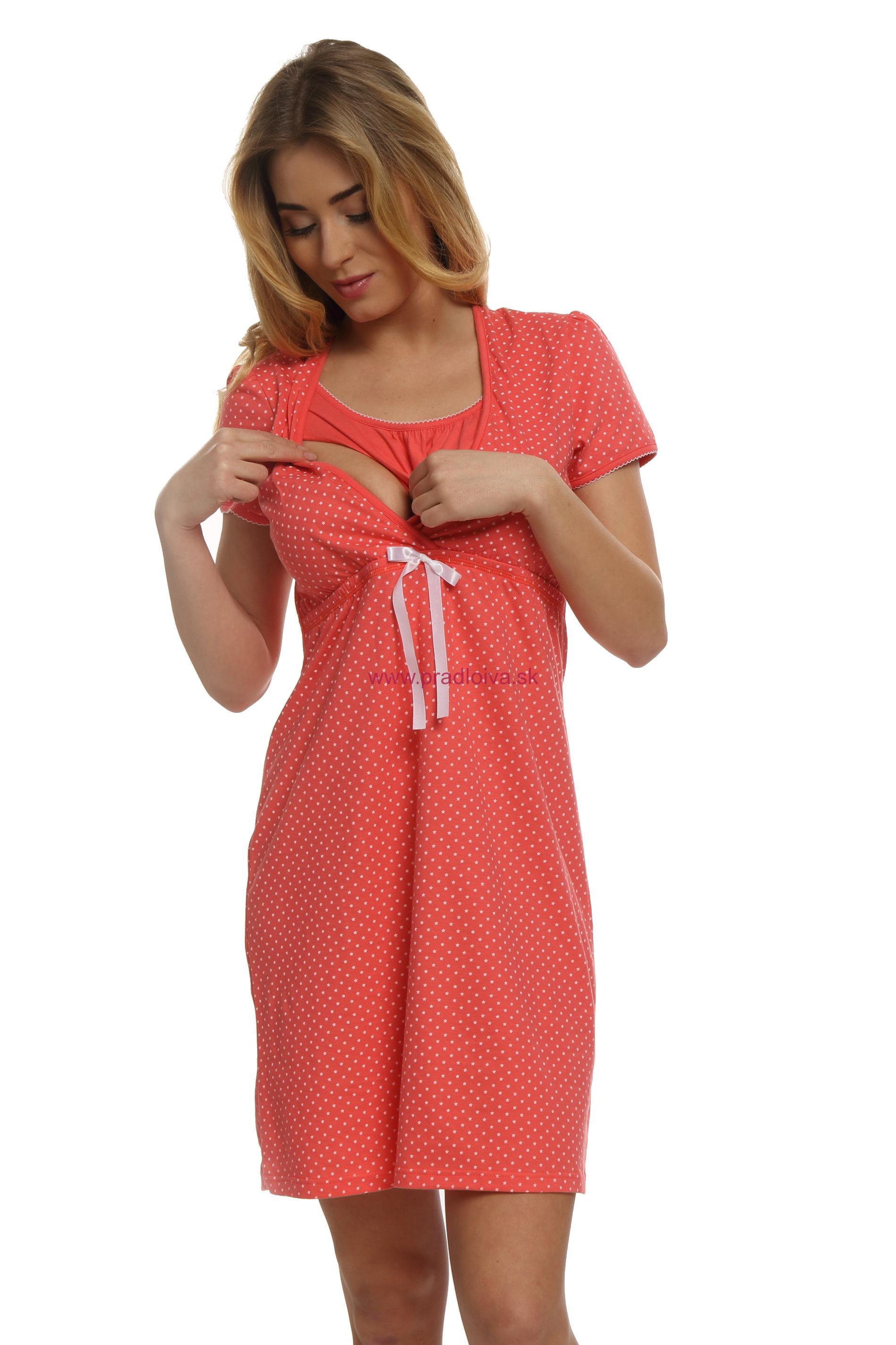 b8959df13fae Bavlnená tehotenská nočná košeľa Alena korálová