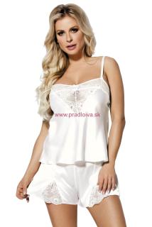 Dámska krátke saténové pyžamo Zala biele d48db68a7d