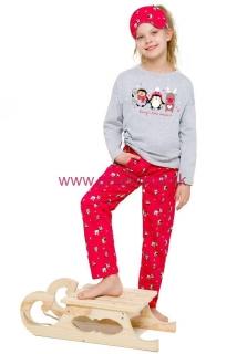 d65cb6167fd1 Dievčenské Vianočné pyžamo Sofinka šedo červené s tučniakmi