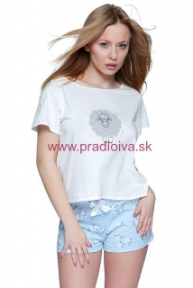 a9f837bc5de5 Dámske bavlnené krátke pyžamo Ovečka bielo modré