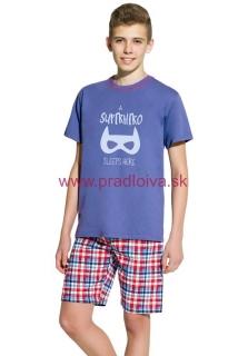 67985b25bd94 Chlapčenské detské bavlnené krátke pyžamo Damian Superhero modré