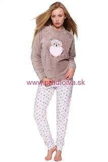 764c932b6dc6 Dámske dlhé teplé soft pyžamo Sova béžové