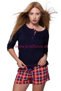 f0bf1bfcc2f1 Dámske krátke bavlnené pyžamo Kaya káro modro červené
