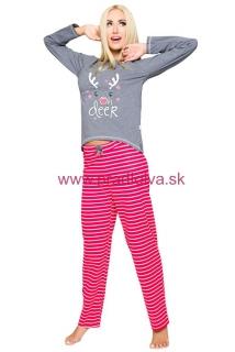 26a70502618c Dámske bavlnené dlhé pyžamo Oda sob šedo červené s pruhmi