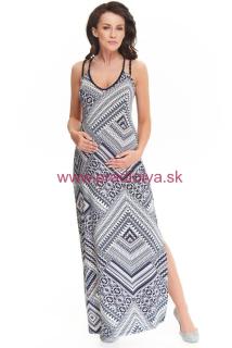 97ff37738b18 Maxi dlhé šaty Marion dlhé ECRU modré vhodné aj pre tehotné
