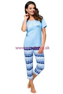 b7c0dfe71969 Dámske svetlo modré bavlnené trojštvrťové pyžamo Milka s bodkami