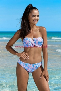 4d36cc565 Dámske dvojdielne plavky push-up kvetinový vzor Sadie modré