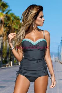 dbec7f6fb Dámske plavky tankiny s farebnými pruhmi Tiffany šedé