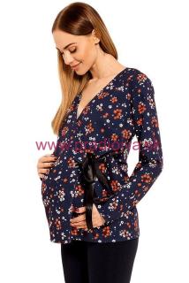 ab6516c68946e Dámska tehotenská blúza kvetinový vzor Katie modrá